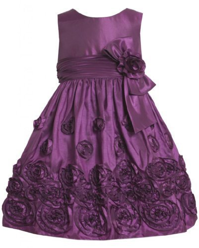 Magenta-Purple Bonaz Rosette Border Taffeta Dress MG2HA, Bonnie Jean Little G...