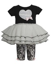 Black Sequin Heart Applique Lace Print Dress/Legging Set BK1ET,Bonnie Jean Ba...