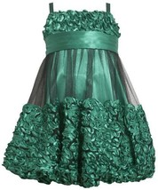 Green Metallic Bonaz Border Mesh Overlay Bubble Dress GR3BA Bonnie Jean Littl...