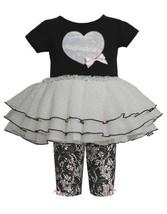 Black Sequin Heart Applique Lace Print Dress/Legging Set BK1TW,Bonnie Jean Ba...