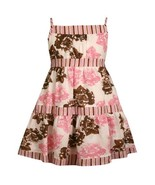 Size-2T BNJ-0941S PINK BROWN WHITE STRIPES and FLORAL PRINT CLIP DOT Spe... - $32.57
