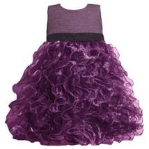 Purple Metallic Knit to Vertical Organza Ruffles Dress PU2HA Bonnie Jean Todd...