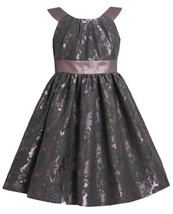 Mauve Floral Brocade and Iridescent Metallic Lame Dress MV3BU Bonnie Jean Lit...