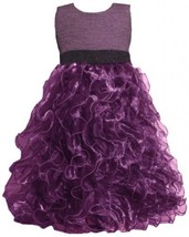 Purple Metallic Knit to Vertical Organza Ruffles Dress PU4MH Bonnie Jean Twee...