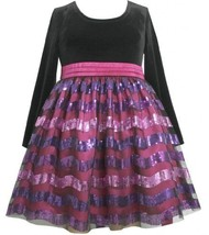 Fuchsia Black Velvet to Stripe Sequin Mesh Overlay Dress FU2BA Bonnie Jean To...