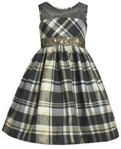 Illusion Neckline Sequin Waistline Metallic Plaid Dress GD3NA Bonnie Jean Lit...