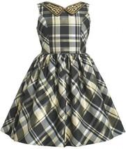 Gold Black Embellish Collar Metallic Plaid Taffeta Dress GD3BU Bonnie Jean Li...