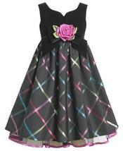 Black Sweetheart Neckline Multi Metallic Plaid Dress BK3SA Bonnie Jean Little...