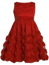 Red Satin and Bonaz Rosette Mesh Overlay Bubble Dress RD3BU Bonnie Jean Littl...