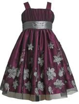 Fuchsia Silver Floral Applique Mesh Overlay Dress FUC3SA Bonnie Jean Little G...