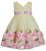 Yellow Pink Cross Over Bonaz Rosette Border Mesh Dress YL2BA, Yellow, Bonnie ...