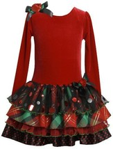 Bonnie Jean Girls 2-6X Stretch Velvet Bodice To Tiered Skirt, RD3NA, Red