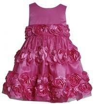 Fuchsia-Pink Bonaz Rosette Border Mesh Overlay Dress FU2BA, Fuchsia, Bonnie J...
