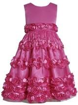 Fuchsia-Pink Bonaz Rosette Border Mesh Overlay Dress FU3SA, Fuchsia, Bonnie J...