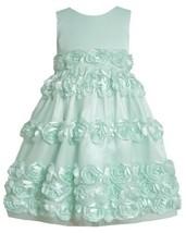 Mint-BBlue Bonaz Rosette Border Mesh Overlay Dress MI3SP, Mint, Bonnie Jean L...