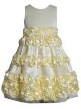 Yellow Bonaz Rosette Border Mesh Overlay Dress YL3NA, Yellow, Bonnie Jean Lit...