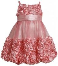 Coral Metallic Bonaz Border Mesh Bubble Dress CO 2BU, Coral, Bonnie Jean Litt...