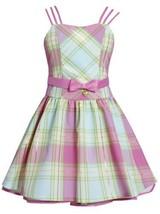 Fuchsia-Pink Metallic Plaid Triple Strap Heart Charm Dress FU3BU, Fuchsia, Bo...