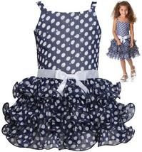 Navy-Blue White Sparkle Dot Curvy Wire Chiffon Tier Dress NV2BU, Navy, Bonnie...