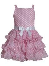 Pink White Sparkle Dot Curvy Wire Tier Chiffon Dress PK3SP, Pink, Bonnie Jean...
