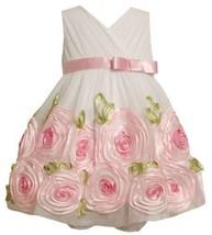 2-Piece Ivory Pink Cross Over Bonaz Rosette Border Mesh Dress IV1HB, Bonnie J...