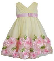 Yellow Pink Cross Over Bonaz Rosette Border Mesh Dress YL2BU, Yellow, Bonnie ...
