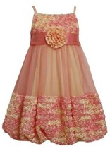 Size-6, Coral, BNJ-1521R, Coral and Yellow Bonaz Rosette Mesh Bubble Dress,Bo...
