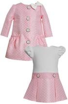Bow Shoulder Ruched Pocket Dotted Jacquard Dress/Coat Set PK1HB, Pink, Bonnie...