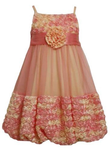 Size-5, Coral, BNJ-1521R, Coral and Yellow Bonaz Rosette Mesh Bubble Dress,Bo...