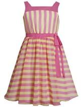 Pink Yellow Vertical Horizontal Stripe Chiffon Overlay Dress PK3NA, Pink, Bon...