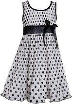 Black White Sequin Waist Crystal Pleat Dotted Chiffon Dress BW3NA, Black/Whit...