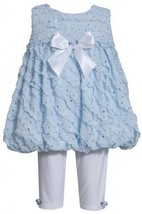 Blue Sparkle Eyelash Ruffles Bubble Dress/Legging Set BL1HB, Blue, Bonnie Jea...