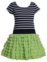 Green Blue Stripe Knit to Tier Eyelash Ruffle Dress GR3BU, Green, Bonnie Jean...