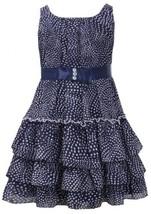 Navy-Blue and White Dot Print Tiered Chiffon Dress NV3SA, Navy, Bonnie Jean L...