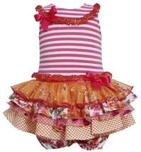 Fuchsia-Pink Stripe Knit to Mix Print Sparkle Tier Dress FU0SA, Fuchsia, Bonn...