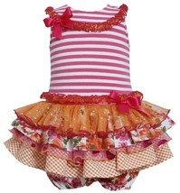 Fuchsia-Pink Stripe Knit to Mix Print Sparkle Tier Dress FU0CH, Fuchsia, Bonn... - $33.26