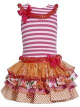 Fuchsia-Pink Stripe Knit to Mix Print Sparkle Tier Dress FU3NA, Fuchsia, Bonn...