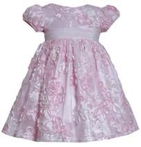 Pink Sequin Floral Soutache Mesh Overlay Dress PK2BA, Pink, Bonnie Jean Littl...