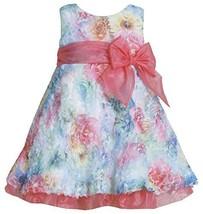 Fuchsia Blue Multi Die Cut Floral Print Mesh Overlay Dress FU0SA, Fuchsia, Bo... - $39.50