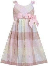 Sage-Green Pink Pull-Thru Ribbon Plaid Seersucker Dress SG3NA, Sage, Bonnie J...