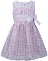 Pink White Twin Check Eyelet Trim Seersucker Dress PK2BA, Pink, Bonnie Jean L...