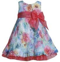 Fuchsia Blue Multi Die Cut Floral Print Mesh Overlay Dress FU1MH, Fuchsia, Bo... image 2