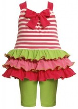 Size-2T, Fuchsia, BNJ-2301M, 2-Piece Bow Front Stripes to Tiers Knit Legging ...