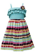 Aqua-Blue Multi Ruffle Knit to Dots-In-A-Row Print Dress AQ3NA, Aqua, Bonnie ...