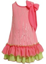 Size-4, Pink, BNJ-2331S, Neon-Pink Green Foil Dot Tiered Ruffle Hem Bow Shoul...
