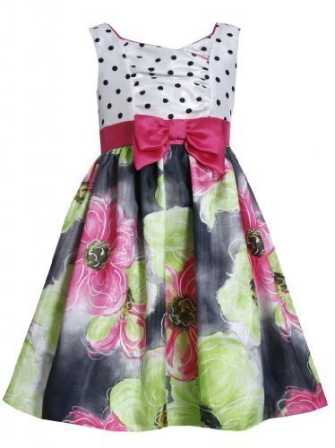 Dot Print Cross Over to Floral Print Shantung Dress FU3BU, Fuchsia, Bonnie Je...