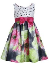 Dot Print Cross Over to Floral Print Shantung Dress FU3SA, Fuchsia, Bonnie Je...