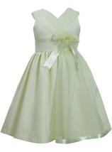 Green Cross Over Organza Panel Linen Dress GR3SP, Green, Bonnie Jean Little G...
