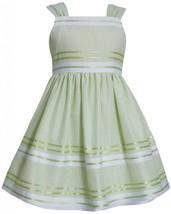 Green White Metallic Pencil Stripe Linen Dress LI2HA, Lime, Bonnie Jean Littl...