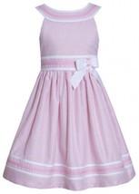 Pink White Metallic Stripe Yoke Neckline Linen Dress PK3SA, Pink, Bonnie Jean...
